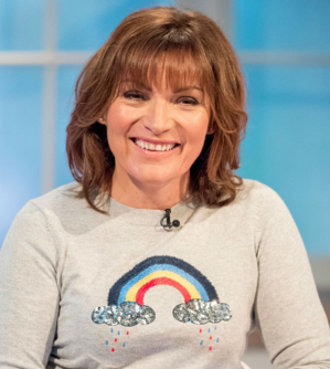 Lorraine wearing a jumper with a rainbow design
