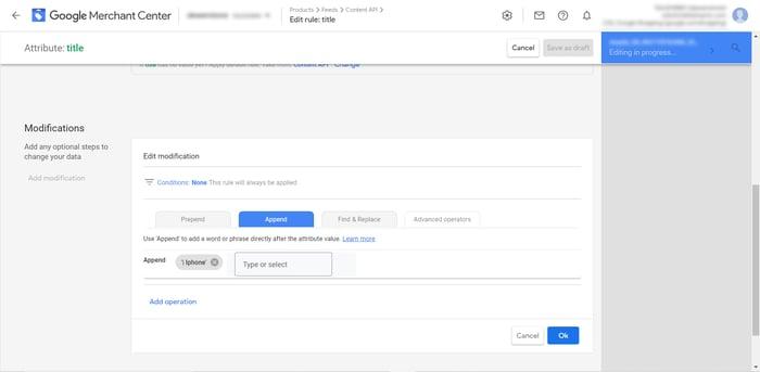 Google Merchant Center Modifications